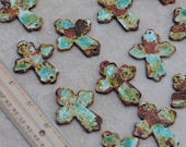 Pottery Cross Bead in Worldly Mix of browns, blues and greens