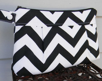 Diaper Clutch Black and White Chevron with Waterproof Lining