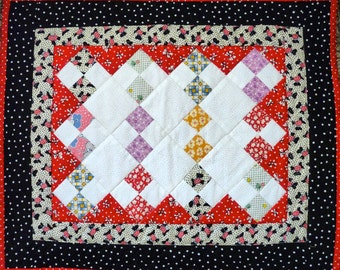Small Quilt, Wall Hanging, Table Topper, Doll Quilt, Red, Black and White, Scottie Dogs, 30s Fabric