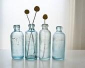 Green Glass Bottles,  Rare Vintage Blob Top Bottles, Chicago Soda Bottles