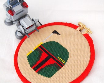 Bounty Hunter 5 inch 13cm Cross Stitch - Boba Fett Helmet Star Wars Inspired May the 4th Ready to Hang Original Pattern Fan Art