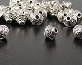 Bead Spacer 30 Antique Silver Bicone 7mm x 6mm (1022spa07s1)