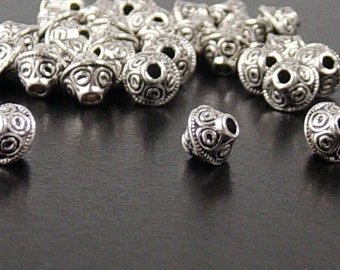 Bead Spacer 30 Antique Silver Bicone 7mm x 6mm (1022spa07s1)xz