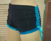 Black and Blue Teal Spandex Lift and Separate Booty Scrunch Butt Shorts Roller Derby Yoga Dance Cracker Wear Large