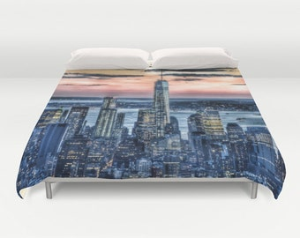 "Duvet Cover Made to Order ""New York - Manhattan Landscape"" Decorative bedding unique design modern comforter bedroom blanket urban sunset"