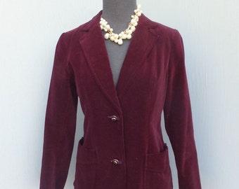 Vintage 1970s Velour Jacket or Blazer / WINE or Burgundy Velour Jacket /After Six Dinner Jacket size 7