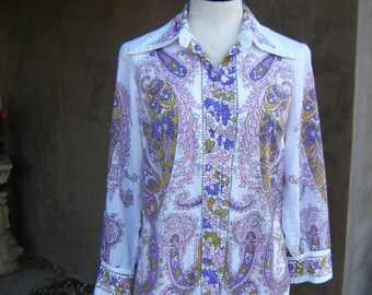 Vintage Vera Neumann Pink and Purple Cotton Blouse size Twelve