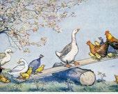 Molly Brett postcard, Fun on the Farm. Pk 217, Molly Brett, vintage postcard, chickens, chicks,ducks, goose, teeter totter, see saw