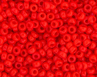 20 Grams Japanese Miyuki 11/0 Seed Beads - Red Vermillion Opaque - 2mm (11-0407)