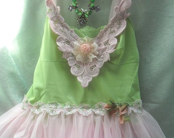 50% OFF - TUNIC Top Tank Cami Whimsical Fairylike Romantic Boho - Tunic - Spring Green and Pink
