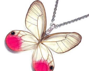 Real Butterfly Wing Necklace / Pendant (WHOLE Cithaerias Merolina - Pink Glasswing Butterfly - W010)