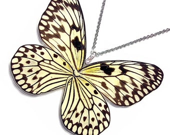 Real Butterfly Wing Necklace / Pendant (WHOLE Rice Paper Butterfly - W034)