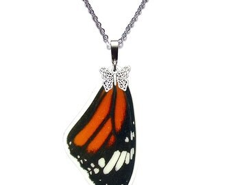Real Butterfly Wing Necklace (Danaus Genutia - Monarch Forewing - N041)