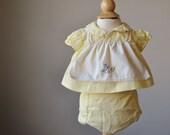 1970s Mother Bird Blouse & Bloomer set~Size Newborn