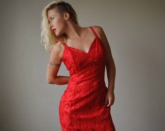 1980s Red Sweetheart Dress~Size Small to Medium