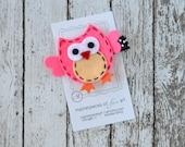 Bright Pink, Yellow and Black Felt Owl Hair Clip - Cute Everyday Owl Felt Clippies - Birthday party favors - felt hair bows