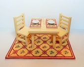 Dollhouse Miniature Area Rug, Table, Ladder-Back Chairs and Placemats