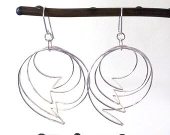 Lightning Bolt Sterling Silver Hoop Earrings