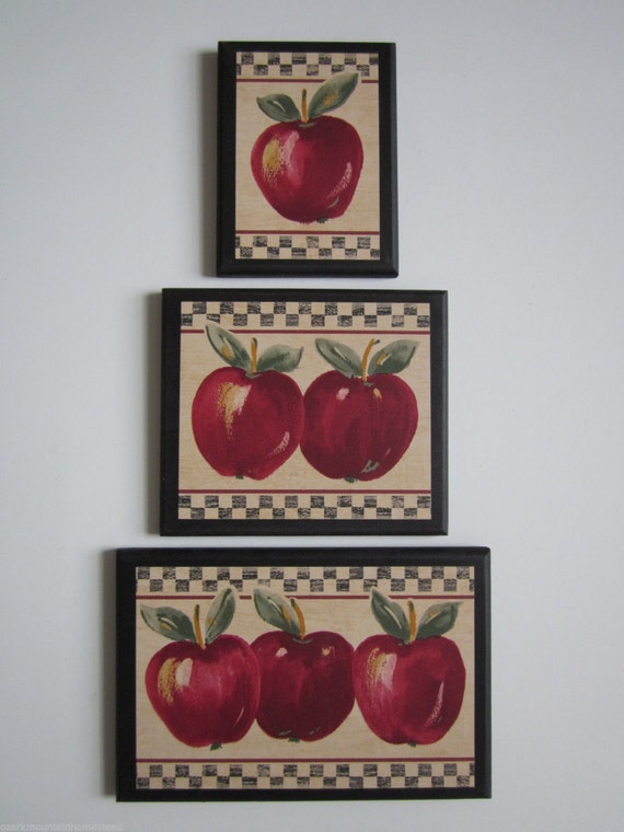 apple signs set of 3 kitchen wall decor plaques country style 87899