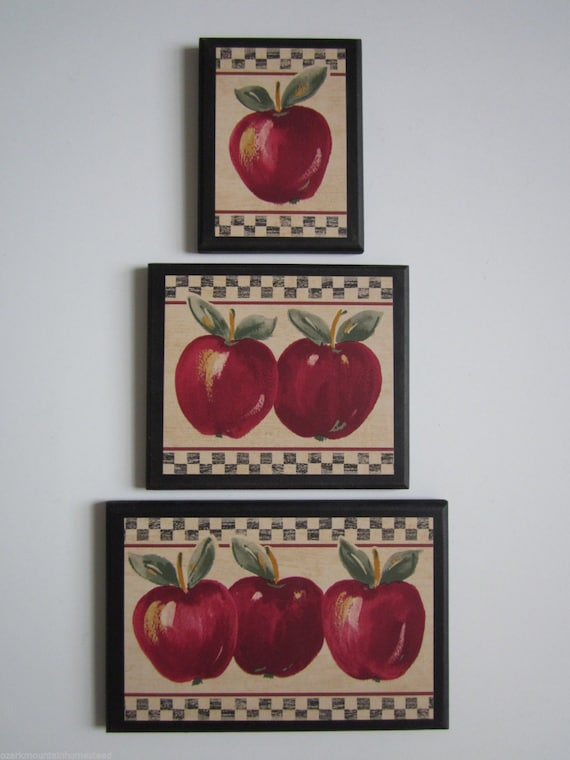 Apple signs set of 3 kitchen wall decor plaques country style for Apple kitchen decoration set