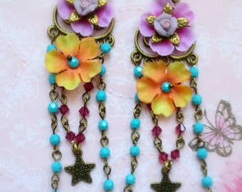Hot Pink and turquoise shabby bohemian  romantic earrings