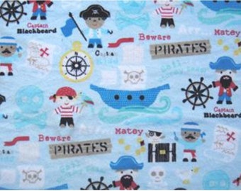 Minky Pirate Ship Print in Blue Soft Cuddle Minky Fabric - 1 Yard
