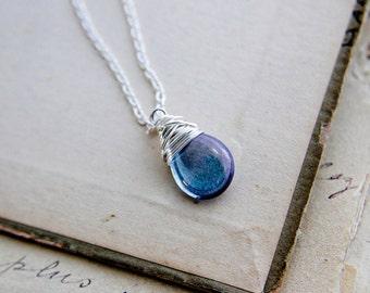 Purple Pendant, Glass Pendant, Glass Necklace, Lilac, Sterling Silver, Pastel, Wire Wrapped, Pendant Necklace, PoleStar