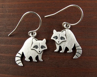 Tiny raccoon earrings