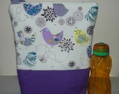 Insulated Lunch Bag Tote Sandwich Keeper Plus Purple Bird Adult Lunch Bag by BonTons on Etsy