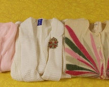 Lot of 6 sweater tops cardigan pullover wools blends floral geometric vintage