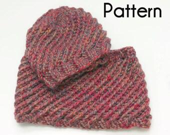 Chunky Hat Cowl Knitting Pattern, Easy Swirl PDF Patterns, Two Knitting Patterns, Hat Knitting Pattern, Cowl Knitting Pattern