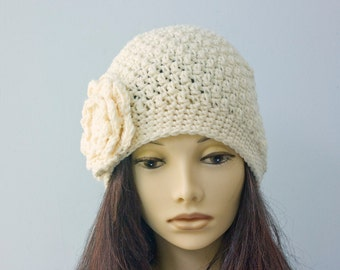 White Flower Hat, Hand Crocheted Hat, Cloche Hat, Winter Hat, Vegan Hat, Ready to Ship