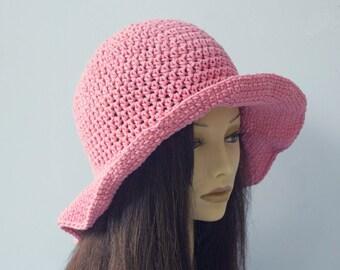 Cotton Sun Hat, Spring Hat,  Custom - Chose Color, Wide Brimmed Hat, Crochet  Hat, Summer Hat, Vegan Hat