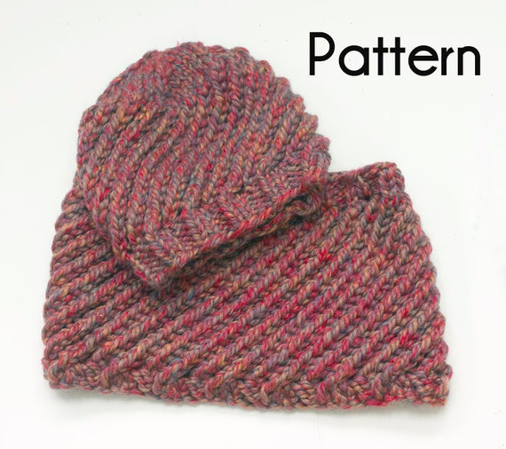 Chunky Hat Cowl Knitting Pattern Easy Swirl PDF Patterns Two