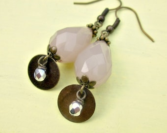 Faceted Pink Acrylic Teardrops and Glass on Rustic Brass Dangle Earrings: Paris