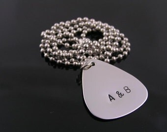 Personalized Guitar Pick Necklace, Personalized Necklace, Stainless Steel Customized Necklace, Guitar Pick Jewelry, Jewelry for Men