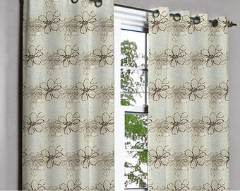 Pair of Teal And Beige Ivy Curtain Panels 26x84