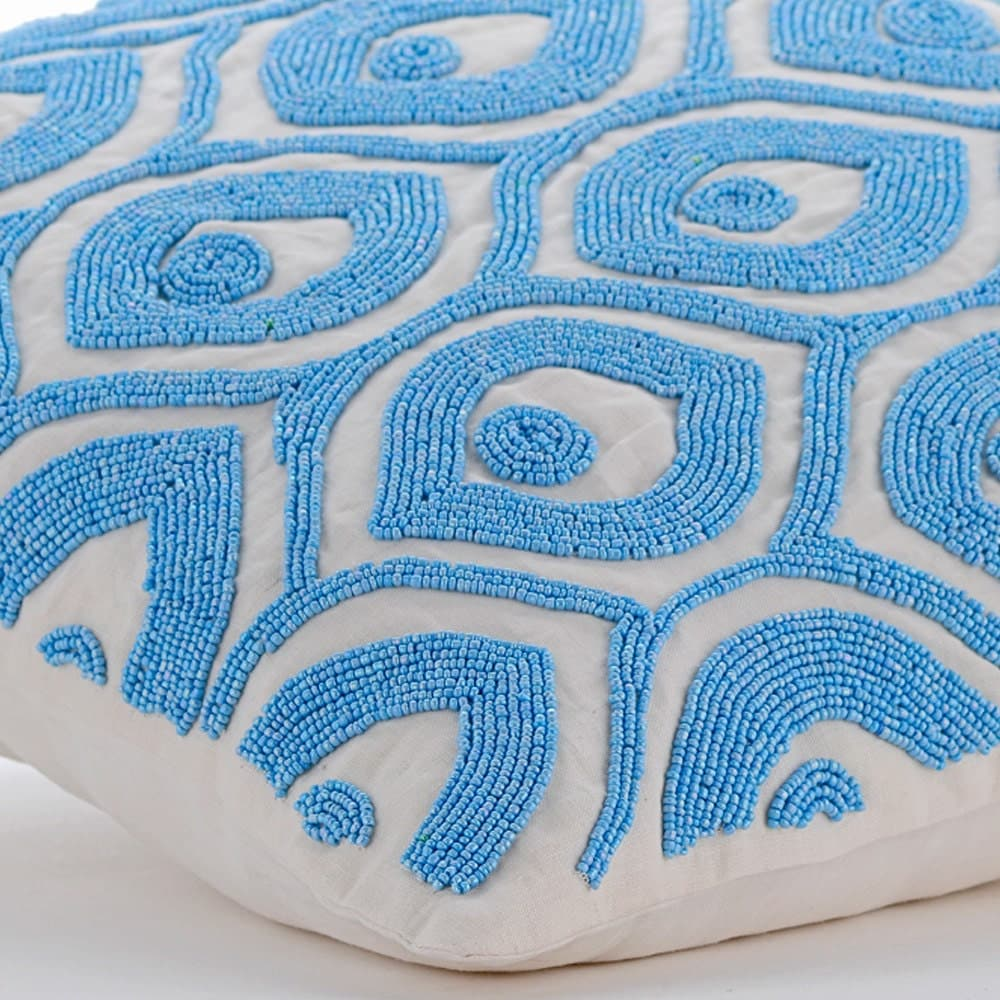Light Blue Silk Throw Pillow : Blue Decorative Pillows Cover Square Light Blue Beaded
