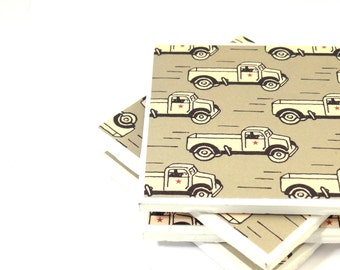 Tile Coasters - Vintage Trucks - Set of 4 Ceramic Tile Coasters