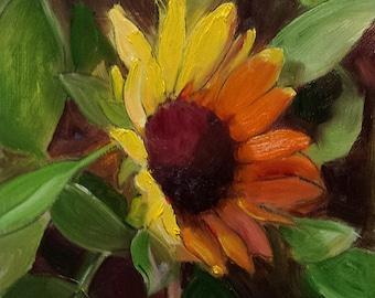 """Small Original Oil Painting, Sunflower, Floral, 6 x 6"""" Unframed, Home Decor, Wall Art, Kitchen Art"""