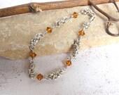 Topaz Crystal Bracelet, Sterling Silver Byzantine Chain Bracelet 8.5 inches