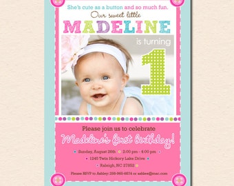 Cute as a Button - First Birthday Party Invitation (Digital File OR Cardstock Printed Cards Also Available)