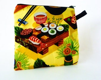 Sushi Reusable Sandwich Bag - Zipper Close - Snack Bag - Food Safe - Wet Bag - Japanese