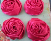 4 Pieces of Large Hot Pink Satin Ribbon Rose Flower Wedding Appliques
