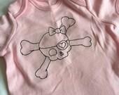 Girls skull baby body suit, Romper suit baby vest, pink skull, skull sleepsuit, black thread freemotion embroidered.