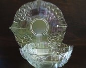 Divided Serving Bowl & Plate, Raised Petal Elegant Glass, clear, dining party tableware