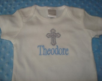 Theodore Personalized bodysuit/ Gown/Onesie Baptism Outfit  with Embroidered Cross - Choice of Name or up to 3 Initials