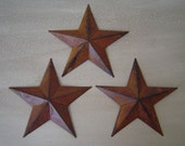"Primitive Tin Metal Barn Star Ornament Ornie Set/3 Rusty Rustic Black Undertones 8"" Craft Supplies"