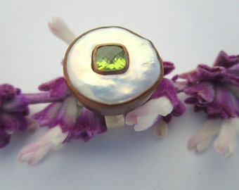 Peridot White Pearl Ring Copper bezel by Marc Gounard