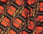 Vintage Japanese Kimono Silk Bold Retro Style Persimmon Flowers Geometric Tortoiseshell Pattern 60ins
